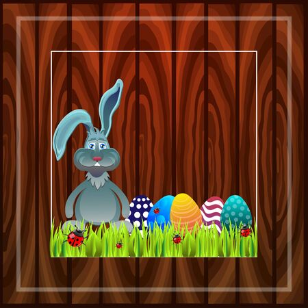 ostern: Bright color vector graphic illustration of happy easter sunday day with traditional spring holiday symbol of painted colorful eggs and cute rabbit in green grass on wooden background