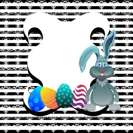 ostern: Bright color vector graphic illustration of happy easter sunday day with traditional spring holiday symbol of painted colorful eggs and cute rabbit on striped background
