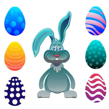 easter sunday: Bright color vector graphic illustration set of happy easter sunday day with traditional spring holiday symbol of painted colorful eggs and cute rabbit in green grass on white background