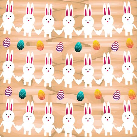 Bright color vector graphic illustration of happy easter sunday day with traditional spring holiday symbol of painted colorful eggs and cute rabbit on wooden background