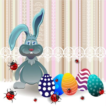 easter sunday: Bright color vector graphic illustration of happy easter sunday day with traditional spring holiday symbol of painted colorful eggs and cute rabbit on light background