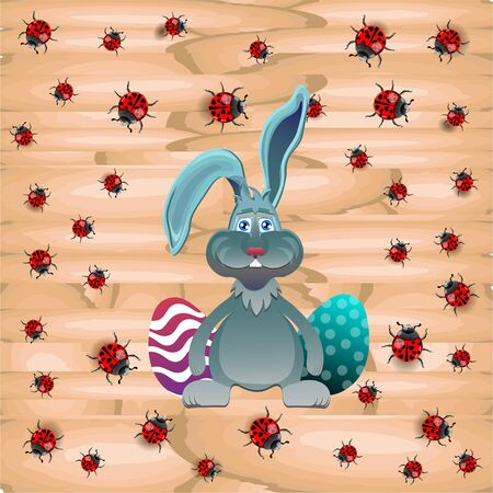 ostern: Bright color vector graphic illustration of happy easter sunday day with traditional spring holiday symbol of painted colorful eggs and cute rabbit on wooden background