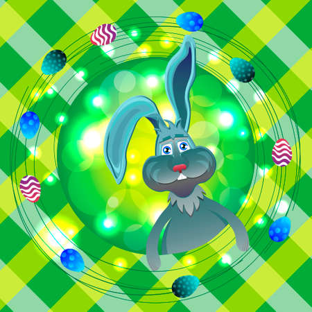 easter sunday: Bright color vector graphic illustration of happy easter sunday day with traditional spring holiday symbol of painted colorful eggs and cute rabbit on checkered background