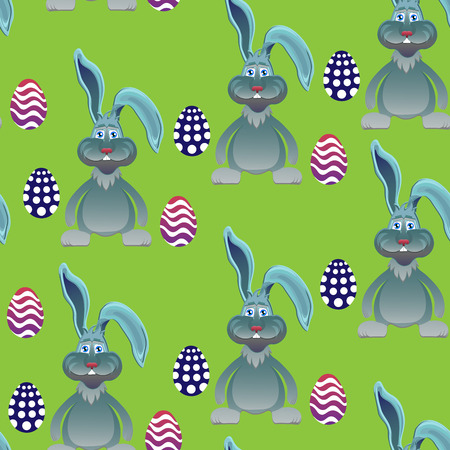 ostern: Bright color vector graphic illustration of happy easter sunday day with traditional spring holiday symbol of painted colorful eggs and cute rabbit on green seamless background