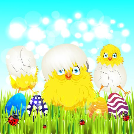 ostern: Bright color vector graphic illustration of happy easter sunday day with traditional spring holiday symbol of painted colorful eggs and cute yellow chicken in shell on light background