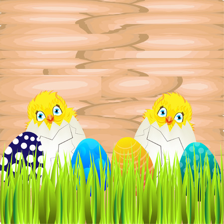 ostern: Bright color vector graphic illustration of happy easter sunday day with traditional spring holiday symbol of painted colorful eggs and cute yellow chicken in shell on wooden background