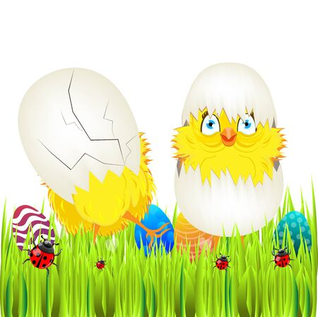ostern: Bright color vector graphic illustration of happy easter sunday day with traditional spring holiday symbol of painted colorful eggs and cute yellow chicken in shell on white background