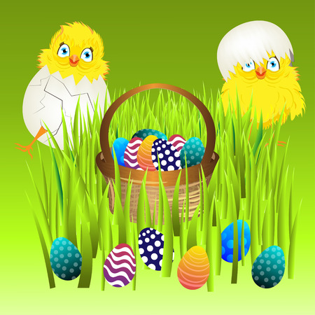 easter sunday: Bright color vector graphic illustration of happy easter sunday day with traditional spring holiday symbol of painted colorful eggs and cute yellow chicken in shell on green background
