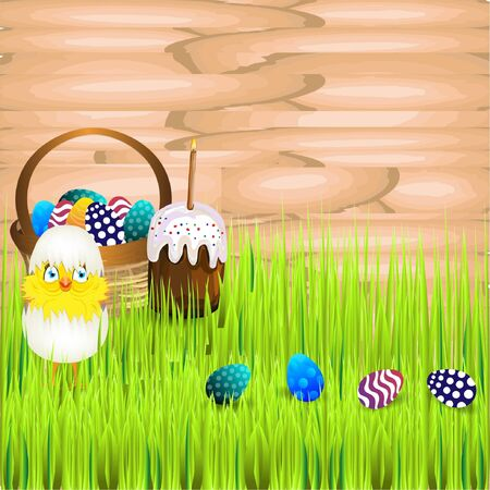 easter sunday: Bright color vector graphic illustration of happy easter sunday day with traditional spring holiday symbol of painted colorful eggs and cute yellow chicken on wooden background
