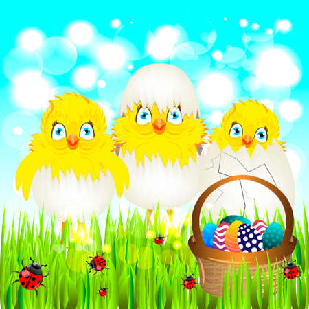 colored egg: Bright color vector graphic illustration of happy easter sunday day with traditional spring holiday symbol of painted colorful eggs and cute yellow chicken in shell on light background