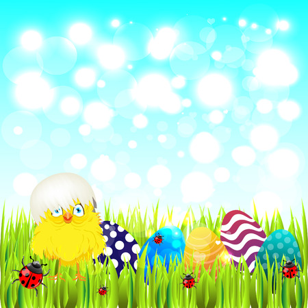 easter sunday: Bright color vector graphic illustration of happy easter sunday day with traditional spring holiday symbol of painted colorful eggs and cute yellow chicken in shell on light background