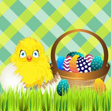ostern: Bright color vector graphic illustration of happy easter sunday day with traditional spring holiday symbol of painted colorful eggs and cute yellow chicken in shell on checkered background Illustration