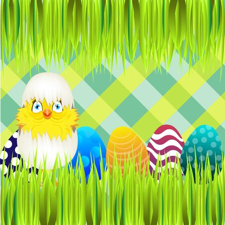colored egg: Bright color vector graphic illustration of happy easter sunday day with traditional spring holiday symbol of painted colorful eggs and cute yellow chicken in shell on checkered background Illustration