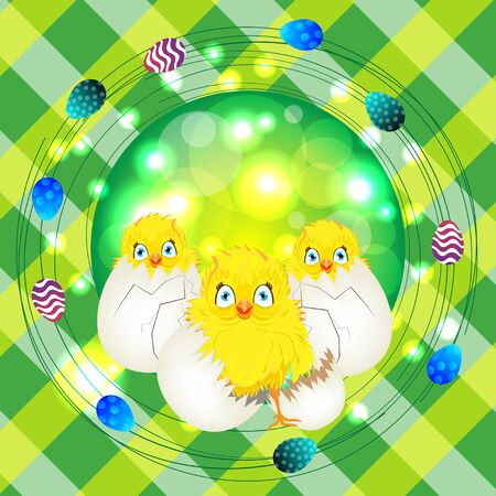 easter sunday: Bright color vector graphic illustration of happy easter sunday day with traditional spring holiday symbol of painted colorful eggs and cute yellow chicken in shell on checkered background Illustration