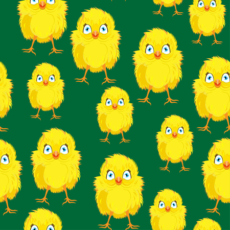 easter sunday: Bright color vector graphic illustration of happy easter sunday day with traditional spring holiday symbol of cute yellow chicken on green seamless background Illustration