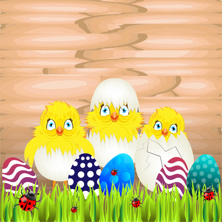 easter sunday: Bright color vector graphic illustration of happy easter sunday day with traditional spring holiday symbol of painted colorful eggs and cute yellow chicken in shell on wooden background