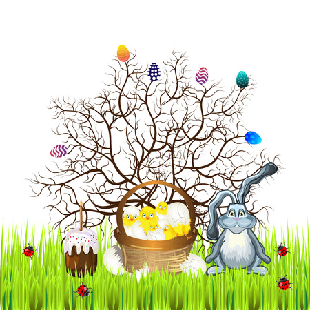 easter sunday: Bright color vector graphic illustration of happy easter sunday day with traditional spring holiday symbol of painted colorful eggs rabbit and cute yellow chicken on white background Illustration