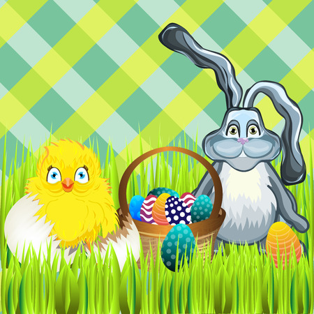 easter sunday: Bright color vector graphic illustration of happy easter sunday day with traditional spring holiday symbol of painted colorful eggs rabbit and cute yellow chicken on checkered background