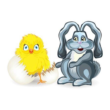 vecteur de couleur vive illustration graphique de jour heureux dimanche de pâques avec traditionnel symbole des vacances de printemps de lapin et de poulet jaune coquille d'oeuf sur fond blanc
