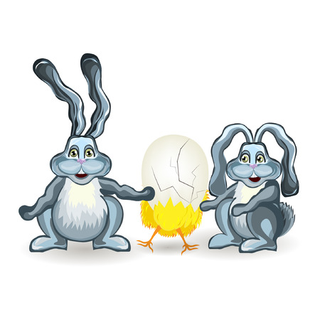 easter sunday: Bright color vector graphic illustration of happy easter sunday day with traditional spring holiday symbol of rabbit and yellow chicken in egg shell on white background Illustration