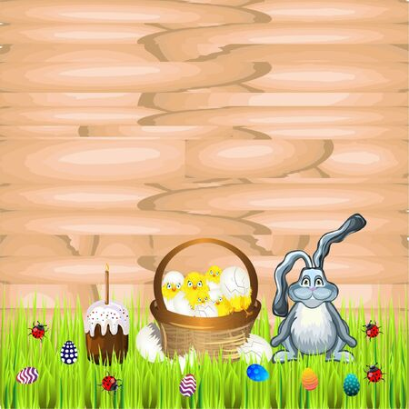 easter sunday: Bright color vector graphic illustration of happy easter sunday day with traditional spring holiday symbol of painted colorful eggs rabbit and cute yellow chicken on wooden background Illustration