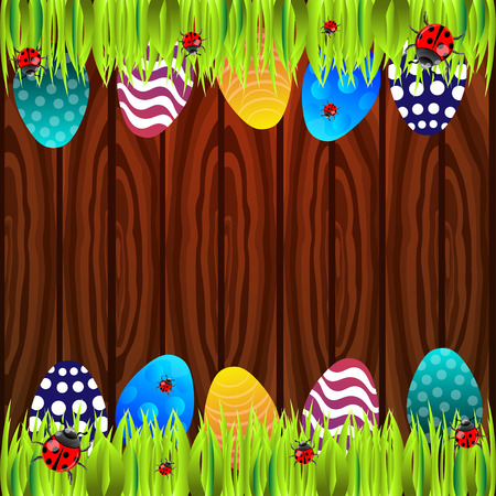 ostern: Bright color vector graphic illustration of happy easter sunday day with traditional spring holiday symbol of painted colorful eggs and ladybird in green grass on wooden background