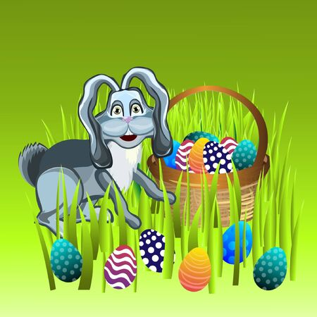colored egg: Bright color vector graphic illustration of happy easter sunday day with traditional spring holiday symbol of painted colorful eggs and cute rabbit on green background Illustration
