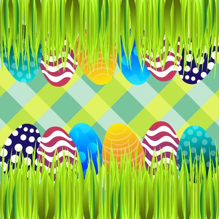 easter sunday: Bright color vector graphic illustration of happy easter sunday day with traditional spring holiday symbol of painted colorful eggs on checkered background