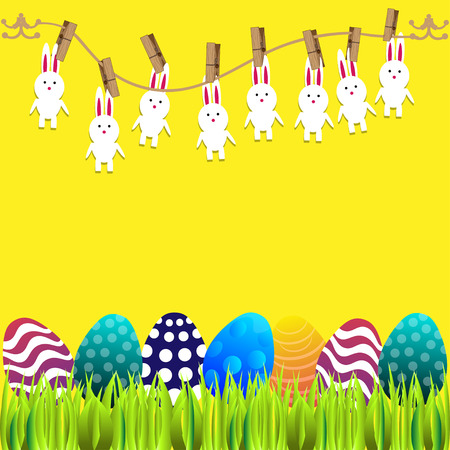 ostern: Bright color vector graphic illustration of happy easter sunday day with traditional spring holiday symbol of painted colorful eggs and cute rabbit on yellow background