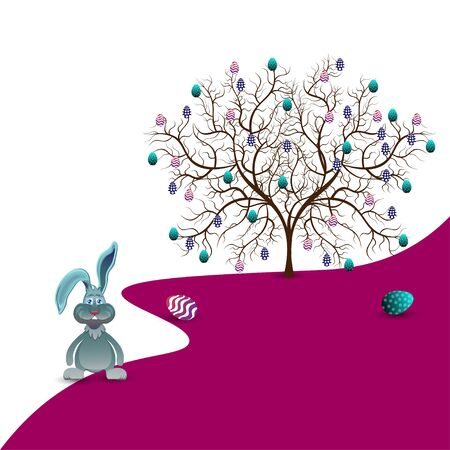 colored egg: Bright color vector graphic illustration of happy easter sunday day with traditional spring holiday symbol of painted colorful eggs and cute rabbit tree on white purple background Illustration