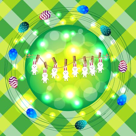 ostern: Bright color vector graphic illustration of happy easter sunday day with traditional spring holiday symbol of painted colorful eggs and cute rabbit on checkered background