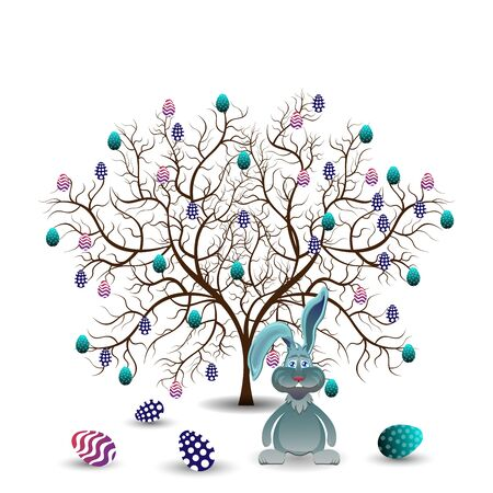 easter sunday: Bright color vector graphic illustration of happy easter sunday day with traditional spring holiday symbol of painted colorful eggs and cute rabbit tree on white background