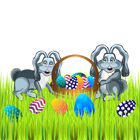 easter sunday: Bright color vector graphic illustration of happy easter sunday day with traditional spring holiday symbol of painted colorful eggs and cute rabbit on white background