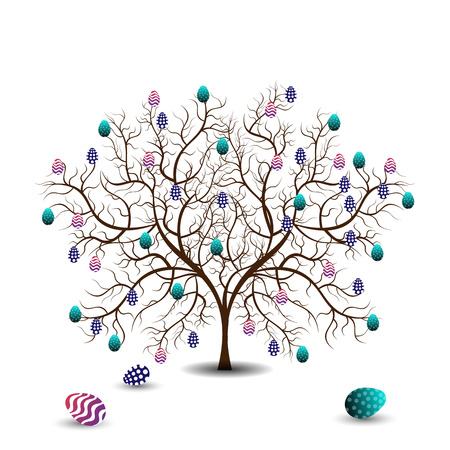 drawing trees: Bright color vector graphic illustration of happy easter sunday day with traditional spring holiday symbol of painted colorful eggs and tree on white background