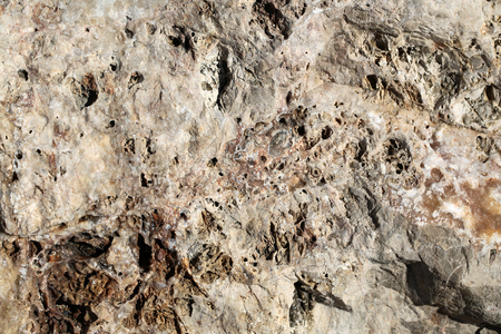 costal: Photo closeup of costal beach sharp cracked gray beige rock stone formations covered with salt minerals solid layer on natural background, horizontal picture