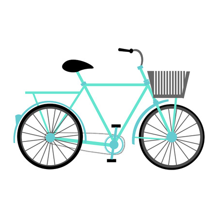 attach: Blue color vector graphic illustration of most popular model of bicycle one bike with basket pedal-driven single-track vehicle with two wheels attached to frame on white background
