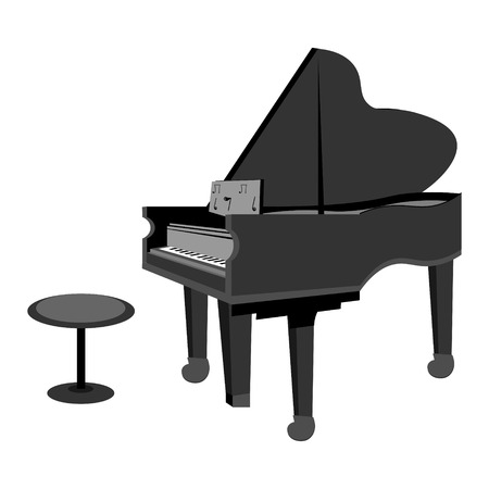grand open: Monochrome color vector graphic illustration of open black grand piano and stool for musician on white background Illustration