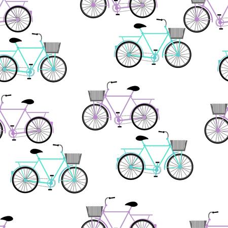 ciclos: Azul y violeta de color del vector ilustración gráfica del modelo más popular de bicicletas bicis ciclos de vehículos de una sola vía y conducido a pedales con dos ruedas unidas al bastidor en el fondo blanco sin costuras
