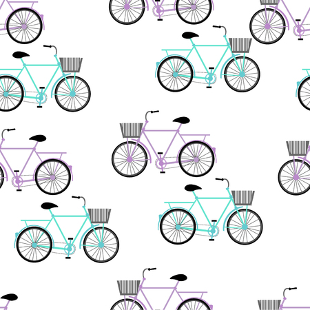 ciclos: Blue and violet color vector graphic illustration of most popular model of bicycles bikes cycles pedal-driven single-track vehicles with two wheels attached to frame on white seamless background