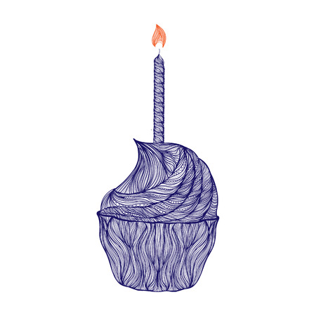 shortcake: Blue color vector graphic illustration of cake with one lighted candle with red flame traditional happy birthday symbol on white background