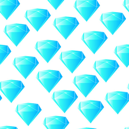 facets: Bright light blue color vector graphic illustration of geometric diamond crystals original round brilliant-cut with many reflecting facets on white seamless background Illustration