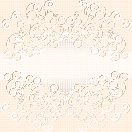 dotted background: Grey and pink color vector graphic illustration of abstract curious design of weaves with pattern effect on white dotted background