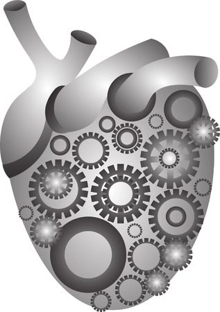 toothed: Grey color vector graphic illustration of big mechanical heart with internal toothed wheel gear on white background