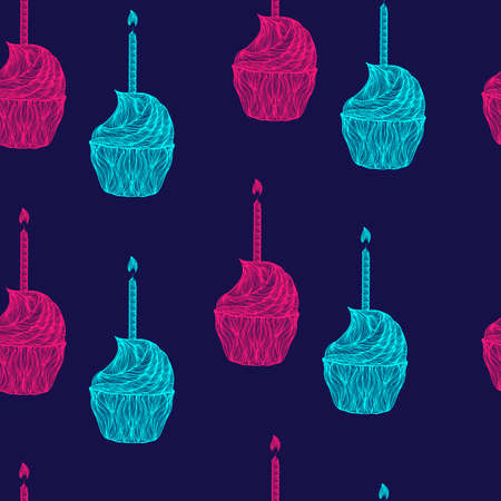 lighted: Bright magenta and azure color vector graphic illustration of cakes with lighted candle with flame traditional happy birthday symbol on blue seamless background
