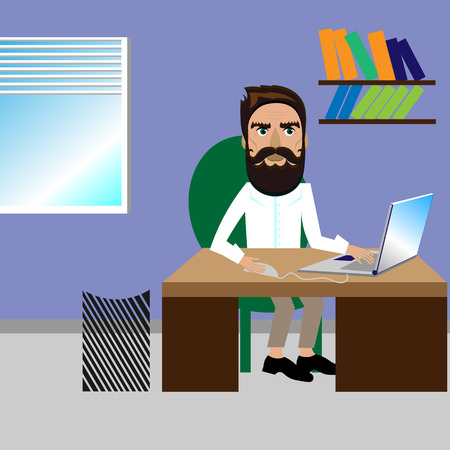 bearded man: Bright color vector graphic illustration of one bearded man sits at desk and works on computer laptop in office on lavender background