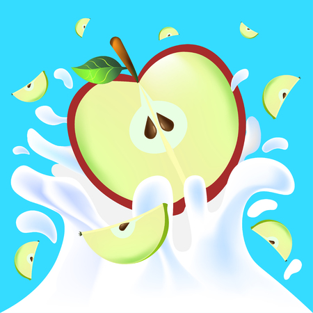 yoghurt: Red vector fresh tasty half apple falling in white milk yoghurt splash on blue background of vitamine fruit
