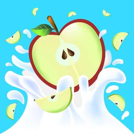 Red vector fresh tasty half apple falling in white milk yoghurt splash on blue background of vitamine fruit