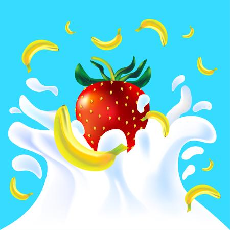 yoghurt: Red vector fresh tasty strawberry and yellow banana falling in white milk yoghurt splash on blue background of vitamine fruit berry
