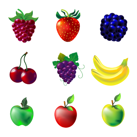 wild berry: Bright colorful vector fruit set of fresh tasty green apple red strawberry chery yellow banana violet grapes blue blackberry and purple raspberry on white background