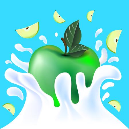 Green vector fresh tasty apple falling in white milk yoghurt splash on blue background of vitamine fruit